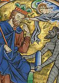 Master of the Ingeborg Psalter, detail, Initial D: David Pointing to His Mouth