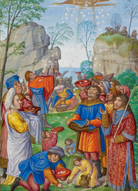 Master of James IV of Scotland, detail, The Israelites Collecting Manna from Heaven