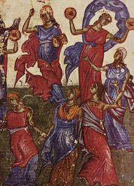 Tarnovo Literary and Art School, Miriam Dances from the Tomić Psalter (Bulgaria, c.1360)