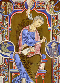 St. John the Evangelist, from the Gospel Book of Abbot Wedricus (1147 AD)