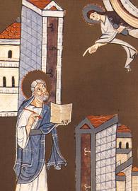 John writes to the churches of Ephesus and Smyrna, Bamberg Apocalypse Folio 8