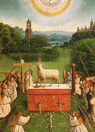 Jan van Eyck , Adoration of the Lamb from the Ghent Altarpiece