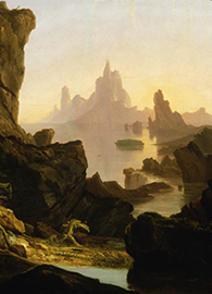 The Ark (floating in the center of the painting) remains the only sign of life in this forbidding and desolate landscape