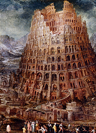 Marten van Valckenborch, Construction of the Tower of Babel (c. 1600). Oil on panel. Wikimedia Commons.