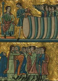 William de Brailes, Joseph's Cup found in Benjamin's Sack, Walters MS W.106 (c. 1250). Illuminated manuscript. Walters Art Museum. Wikimedia Commons.