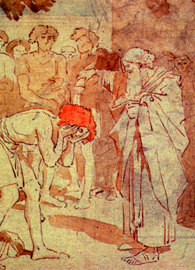 Painted by Alexander Ivanov, Samuel Anoints David to the Kingdom (circa 1850). Pen and watercolor. Wikimedia Commons.