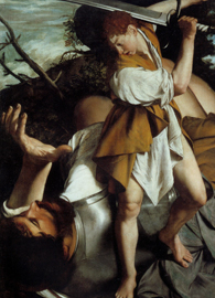 Painted by Orazio Gentileschi, David and Goliath (circa 1605-1607). Oil on Canvas. National Gallery of Ireland, Dublin.