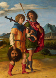 Painted by Cima da Conegliano, David and Jonathan (circa 1505-1510). Oil on panel.