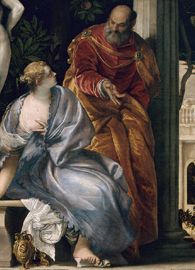 Painted by Paolo Veronese, Bathsheba at Bath (circa 1575). Oil on canvas.