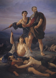 Painted by Elie Marcuse, Death of King Saul (1848). Oil on canvas.