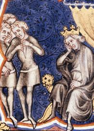 Painted by Guyart des Moulins, David Mourns for Saul (1357). La Bible historiale complétée.