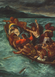 Painted by Eugene Delacroix depicting Christ asleep during a storm on the lake.