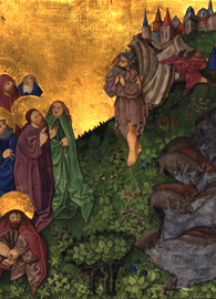 An illuminated manuscript of Jesus casting out the demon into a group of pigs