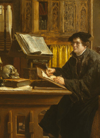 A portrait of Martin Luther translating the Bible, painted by Eugène Siberdt, 1898.