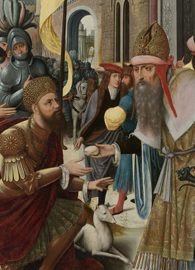 Meeting of Abraham and Melchizedek, left wing of a triptych.