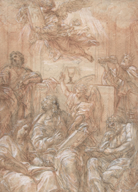 Painted by Carlo Maratti, Allegory of the Old and New Dispensations (1700–1708). Pen and brown ink, over black and red chalk, highlighted with white gouache, on light brown paper.