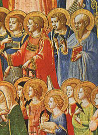 Painted by Fra Angelico, a depiction of The Forerunners of Christ with Saints and Martyrs (c, 1423-24).