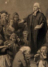 Engraving of John Wesley preaching outside a church.