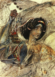 Mikhail Vrubel, Six winged Seraph (after Pushkin's poem Prophet) (1905). Water-color, Lead pencil on paper.