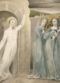 The Three Maries at the Sepulchre (c. 1800-1803) painted by William Blake. Pencil, pen and ink, and water color on India paper.